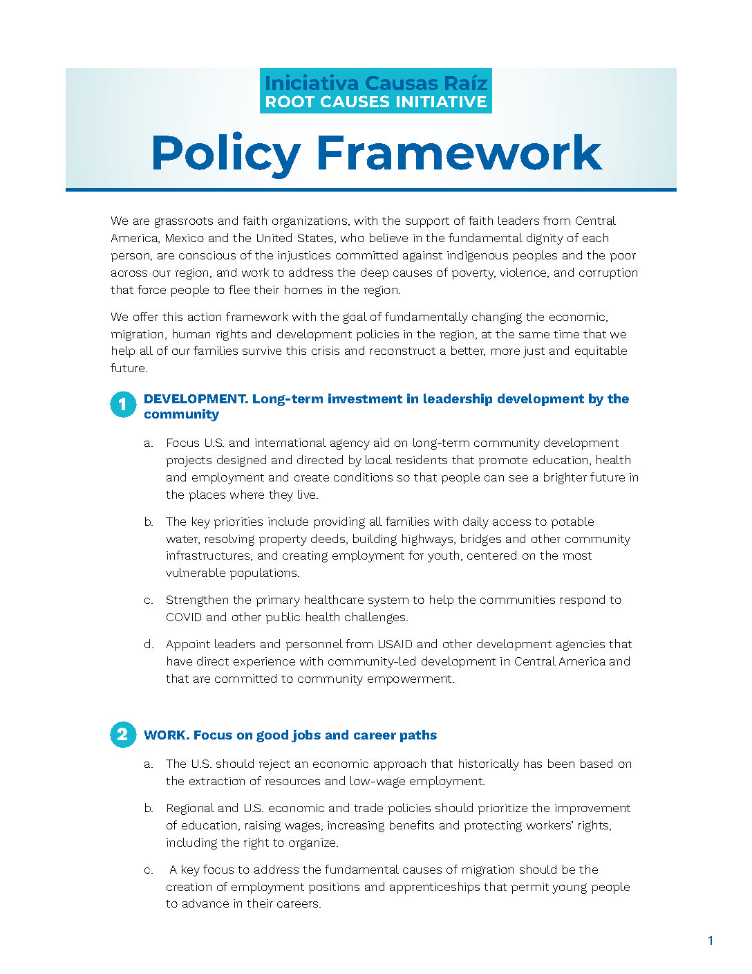 Root Causes Initiative Policy Framework