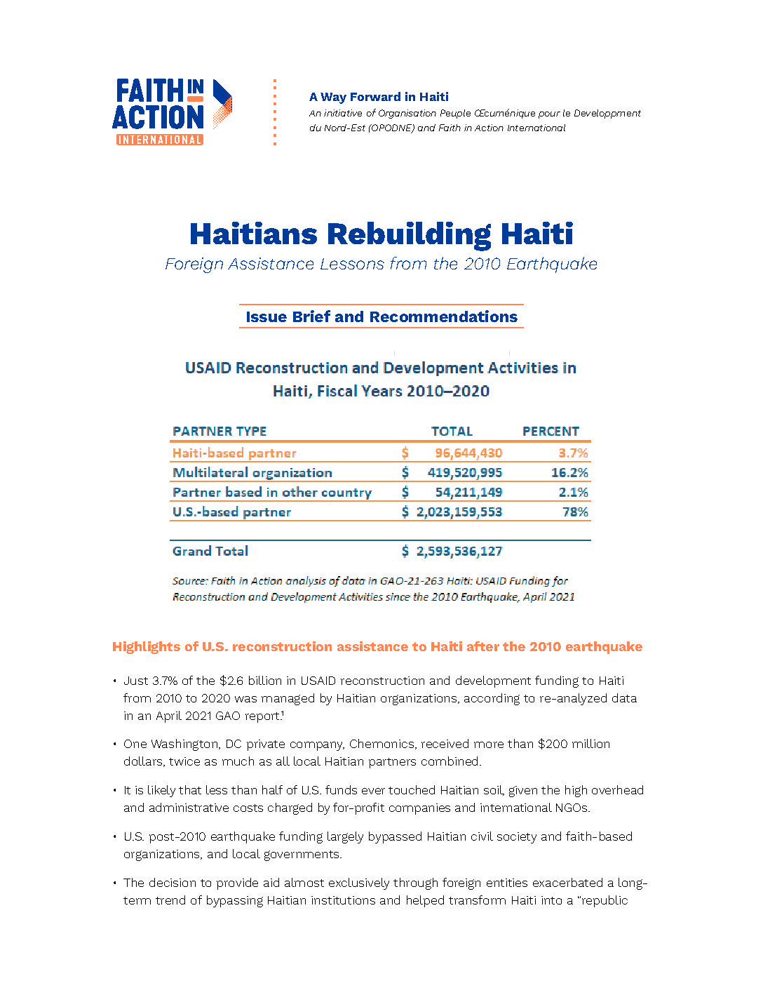 Haitians Rebuilding Haiti:  Foreign Assistance Lessons From The 2010 Earthquake